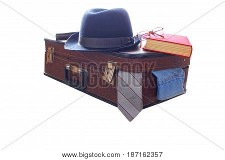 Suitcase and hat , retro, red book , Isolated on white background. Road Travel accesories,