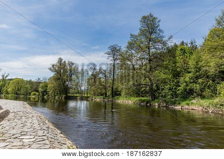 The Otava River is ideal for fly fishing. River Otava South Bohemia Czech republic.