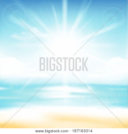 Abstract blur sand beach and blue sky background with sunlight and flare element for summer vector illustration eps10