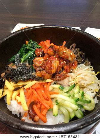 Closeup Bowl of Bibimbap Korean Traditional Dish