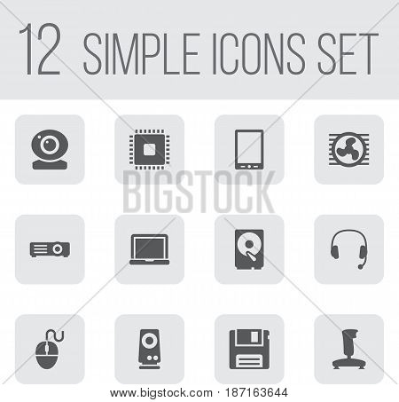 Set Of 12 Computer Icons Set.Collection Of Palmtop, Joystick, Record And Other Elements.