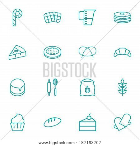 Set Of 16 Bakery Outline Icons Set.Collection Of Waffle, Pretzel, Cupcake And Other Elements.