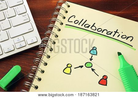 Notepad with word collaboration Cooperation teamwork concept.