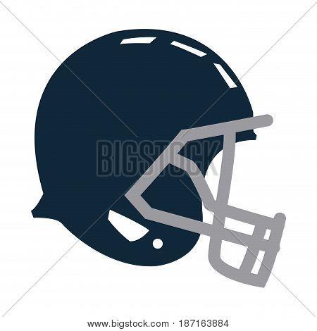 blue football helmet protection equipment side view vector illustration