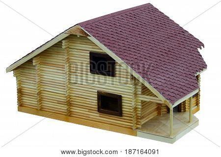 Layout of a log Chalet with shingle roof.