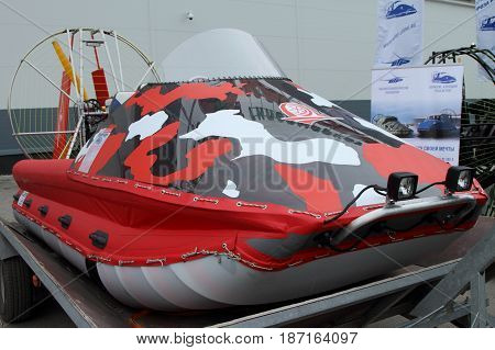 PERM RUSSIA-APRIL 14 2017: Red speed aerology without a cabin on a trailer for transportation. Russia. Perm.