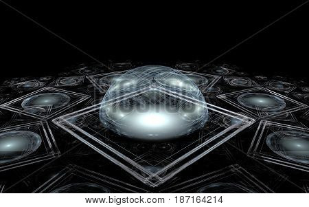 Abstract image of a gray drop with a glare lying on a flat surface with a pattern of colorless squares with a gray outline in a projection on a black background.