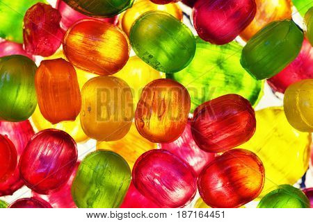 transparent candy. background of colorful candies, lollipops