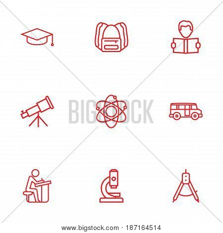 Set Of 9 Education Outline Icons Set.Collection Of Pupil, Backpack, Bus And Other Elements.