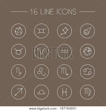 Set Of 16 Horoscope Outline Icons Set.Collection Of Constellation, Cancer, Virgo And Other Elements.