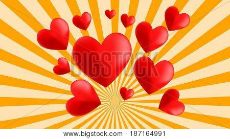 vector illustration of hearts on a retro background representing love and affection
