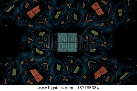 Abstract illustration of squares of blue, orange, green color forming a freakish ornament on a black background