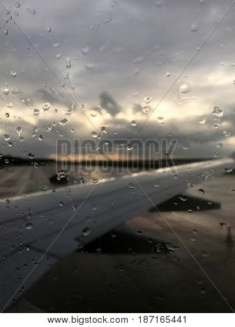 the view from the window of an airplane