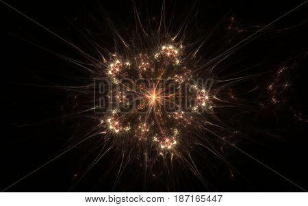 Image of an abstract star with a lot of rays, luminous edges and a bright middle in outer space