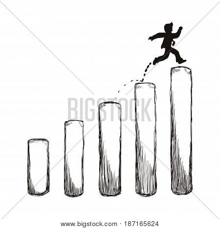 Bussiness mens growing statistics icon vector illustration graphic design