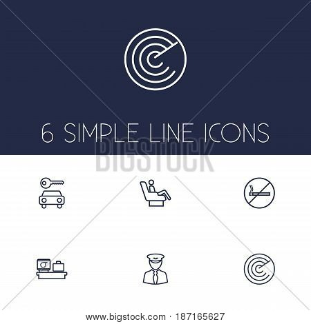 Set Of 6 Land Outline Icons Set.Collection Of Pilot, Car Rent, Business Class And Other Elements.