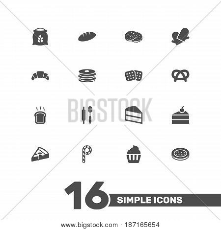 Set Of 16 Cook Icons Set.Collection Of Shortcake, Striped Lollipop, Crepe And Other Elements.