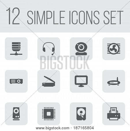 Set Of 12 Notebook Icons Set.Collection Of Fan, Record, Router And Other Elements.