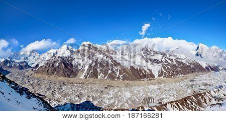 Panoramic View Of The Himalayan Range And Glacier From Top Of Mt. Gokyo Ri.