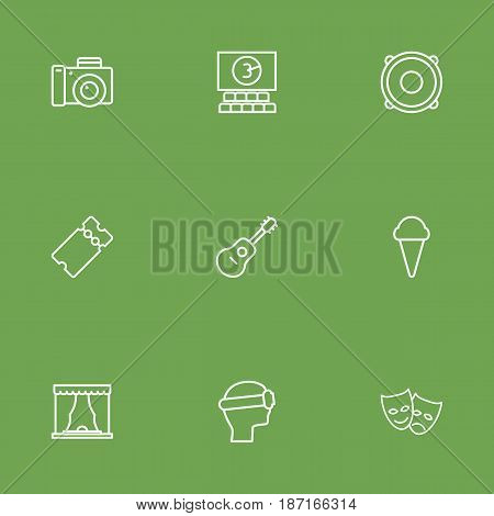 Set Of 9 Entertainment Outline Icons Set.Collection Of Theater, Speaker, Photo Camera And Other Elements.