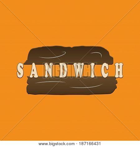 Sandwich on orange background logo illustration illustrating a concept of food