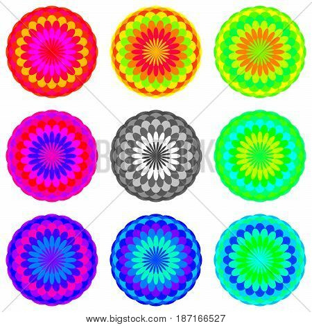 Abstract mandala set in rainbow colors, Flowers isolated on white background, Colorful blooms, Multicolor esoteric petal mandalas