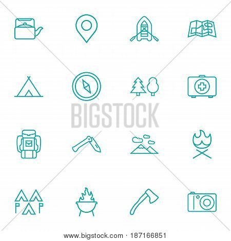 Set Of 16 Outdoor Outline Icons Set.Collection Of Teapot, Ax, Gps And Other Elements.