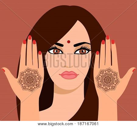 Vector illustration of a beautiful Indian woman with  long hair. Element yoga mudra hands with mehendi patterns. Vector illustration for a yoga studio, tattoo, spas, souvenirs.