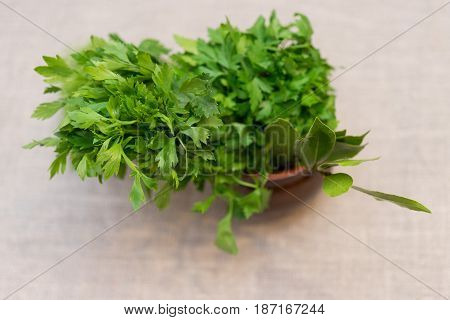 spicy greens in a pot on a background of a linen tablecloth