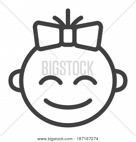 Baby girl line icon, child and infant, vector graphics, a linear pattern on a white background, eps 10.