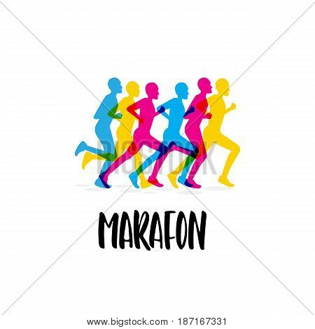 The logo of the sporting event, the marathon. Vector image in a flat style with a group of runners athletes and lettering
