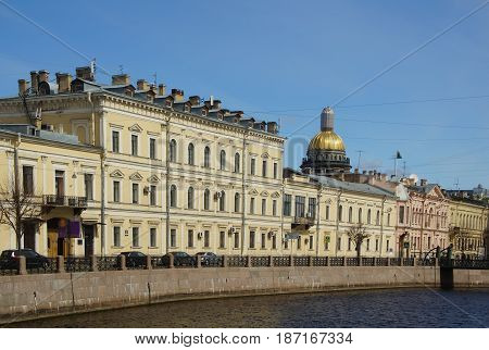 St. Isaac's Cathedral and the Moika Embankment in St. Petersburg