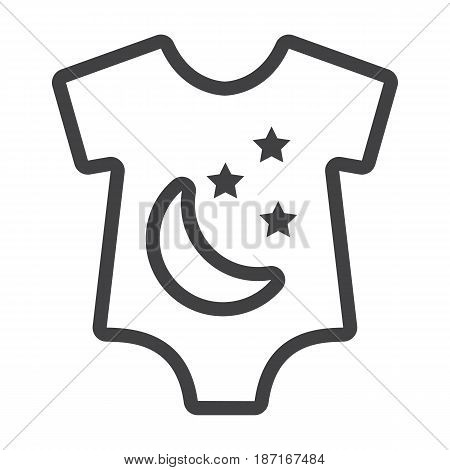 Baby romper line icon, baby clothes and kid, vector graphics, a linear pattern on a white background, eps 10.
