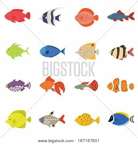 Cute fish vector illustration icons set. Flat style vector illustration. icons isolated. Tropical, sea, aquarium fish set isolated on white background. Sea color flat design