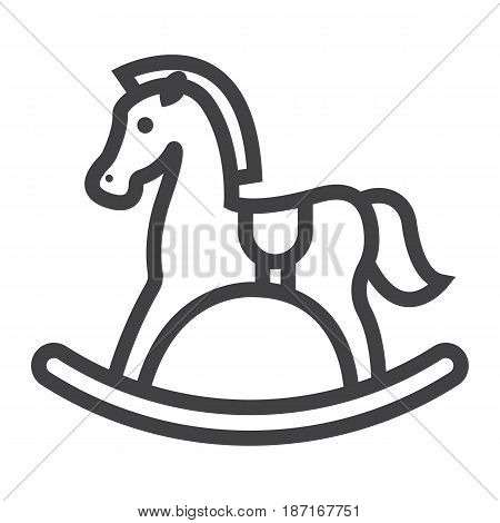 Rocking horse line icon, wooden toy, vector graphics, a linear pattern on a white background, eps 10.