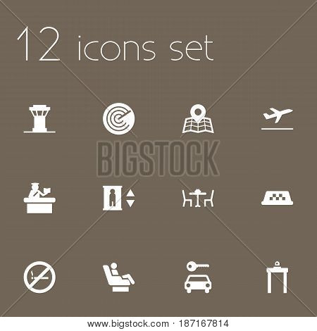 Set Of 12 Aircraft Icons Set.Collection Of Forbidden, Radiolocator, Cab And Other Elements.