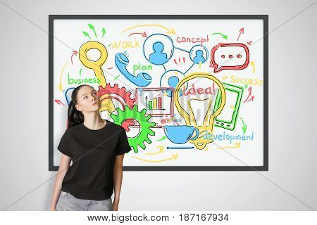Thoughtful young european woman standing next to picture frame with busines sketch. Communication concept