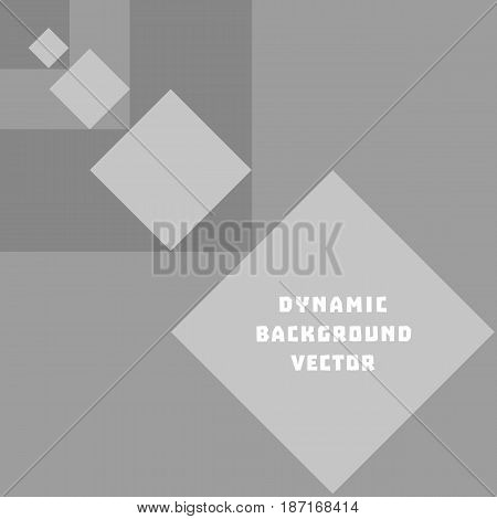 Vector Abstract geometric rhombus shape concept. Gray squares background with dynamic effect in retro style. Perspective design for business cover element. Plain monochrome layout texture abstraction