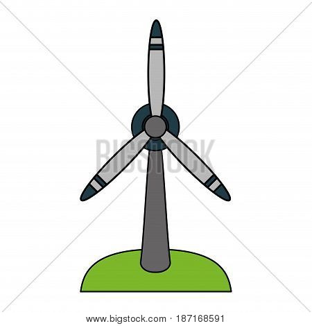 color image cartoon wind turbine eolic energy vector illustration