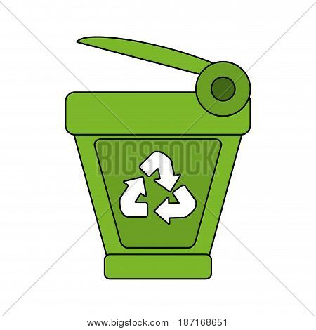 color image cartoon trash can with recycling symbol vector illustration