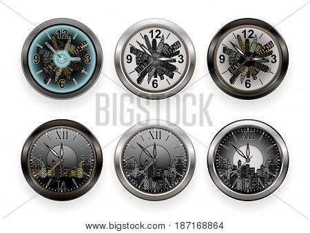 Illustration of various wall clocks with arabic and roman numerals and night cityscape background