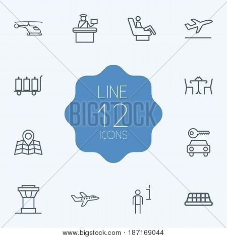 Set Of 12 Airplane Outline Icons Set.Collection Of Cafe, Taxi, Luggage Trolley And Other Elements.