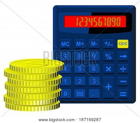 Calculator blue on the dial which covers the numbers from one to nine and zero and money in the form of golden coins stacked in a pile