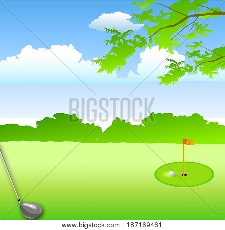 in summer green landscape hole golf course and golf club metal