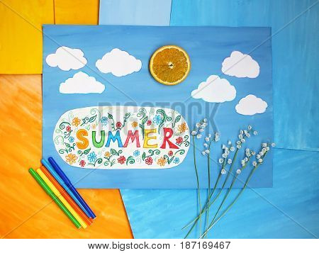 Summer positive concept, Word Summer on child applique
