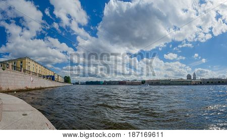 North Europe, Saint Petersburg, Leningrad, Neva River, Russia. Summer photo. Panorama