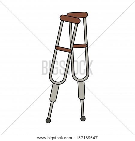 color image cartoon pair of medical crutches vector illustration