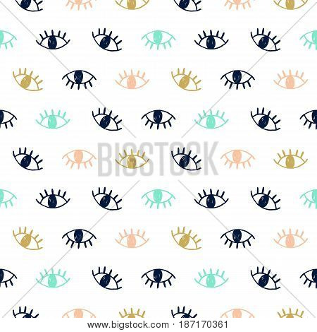 Vector hand drawn seamless pattern with open eyes in coral, gold and mint colors, isolated on white. Modern website backdrop, wallpaper, textile print design. Minimal scandinavian style