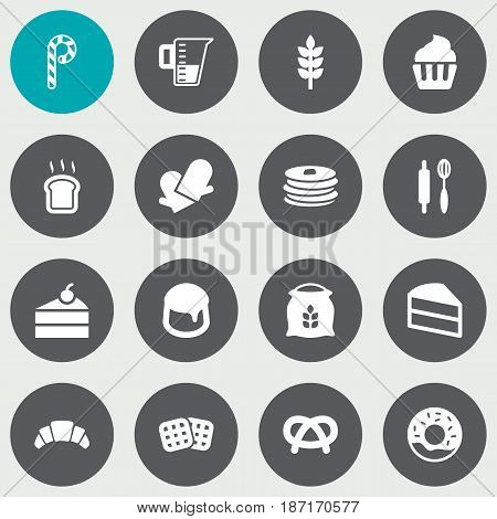 Set Of 16 Stove Icons Set.Collection Of Custard, Doughnut, Wafer And Other Elements.
