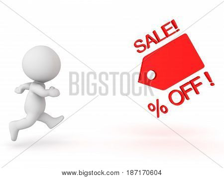 3D Character running after price cut sales promotion. Image can be used in sales promotions by any sort of store.